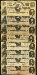 Confederate Notes:1864 Issues, T65 $100 1864 Eight Examples Fine-Very Fine or Better.. ... (Total: 8 notes)