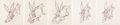 Animation Art:Production Drawing, Hair Ribbin' Bugs Bunny Animation Drawings Sequence of 5 (Warner Brothers, 1944).... (Total: 5 Original Art)
