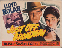 """Just Off Broadway & Other Lot (20th Century Fox, 1942). Rolled, Fine+. Half Sheets (2) (22"""" X 28""""). Myster..."""