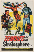 """Movie Posters:Serial, Zombies of the Stratosphere (Republic, 1952). Folded, Fine+. One Sheet (27"""" X 41""""). Serial.. ..."""