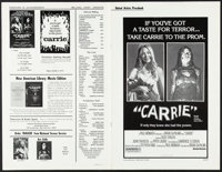 "Carrie & Other Lot (United Artists, 1976). Very Fine. Uncut Pressbooks (3) (Multiple Pages, 11"" X 17"", 9.5..."