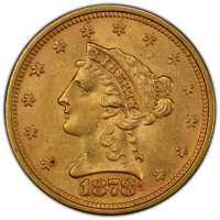1878-S $2 1/2 MS62 PCGS. PCGS Population: (94/72). NGC Census: (123/62). CDN: $650 Whsle. Bid for NGC/PCGS MS62. Mintage...