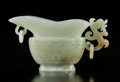 Carvings, A Chinese Celadon Jade Archaistic Vessel. 3 x 5-1/2 inches (7.6 x 14.0 cm). ...
