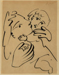 Pablo Picasso (1881-1973) Mère et enfant, circa 1951 Brush and ink on paper 10-5/8 x 8-3/8 inches