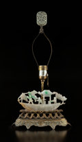 Lighting, A Chinese Jadeite Lamp with a White Jadeite Finial. 19 x 10 x 3-3/4 inches (48.3 x 25.4 x 9.5 cm). ...