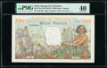 Tahiti Banque de l'Indochine 1000 Francs ND (1940-57) Pick 15b PMG Extremely Fine 40