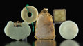 Carvings, A Group of Five Chinese Jade and Hardstone Jewelry Plaques. 4-1/4 x 2-5/8 x 1/4 inches (10.8 x 6.8 x 0.6 cm) (largest, gold-... (Total: 5 Items)