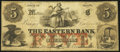 Obsoletes By State:Maine, Bangor, ME- Eastern Bank Counterfeit $5 Oct. 1, 1863 Fancy Serial Number Fine.. ...