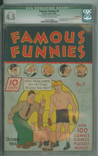 Famous Funnies #3 (Eastern Color, 1934) CGC Qualified VG+ 4.5 Off-white to white pages