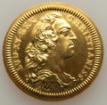France, France: Louis XV gold Restrike Mule Franco-American Jeton 1753-Dated UNC (Obverse Wiped), ...