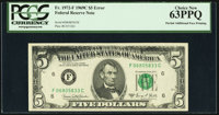 Partial Doubled Face Printing Error Fr. 1972-F $5 1969C Federal Reserve Note. PCGS Choice New 63PPQ