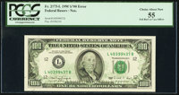 Full Back to Face Offset Error Fr. 2173-L $100 1990 Federal Reserve Note. PCGS Choice About New 55