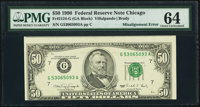 Multi-Error Misalignment Error/Back to Face Partial Offset Fr. 2124-G $50 1990 Federal Reserve Note. PMG Choice Uncircul...