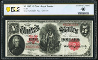 Fr. 91 $5 1907 Legal Tender PCGS Banknote Extremely Fine 40
