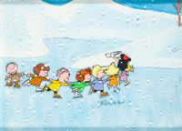 Peanuts A Charlie Brown Christmas Nine Character Production Cel (Bill Melendez, 1965)