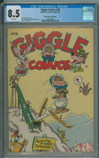 Giggle Comics #38 - Edgar Church Mile High copy (Creston, 1947) CGC VF+ 8.5 White pages