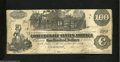 Confederate Notes:1862 Issues, T39 $100 1862. Straight steam bellows from the smokestack ...