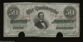 Confederate Notes:1863 Issues, T57 $50 1863. Two cancels dislodge the signatures on this ...