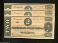 Confederate Notes:1864 Issues, T70 $2 1864 Three Examples. These three Deuces are within ... (3 notes)