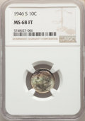 1946-S 10C MS68 Full Bands NGC. NGC Census: (6/0). PCGS Population: (17/0). Mintage 27,900,000. ...(PCGS# 85084)