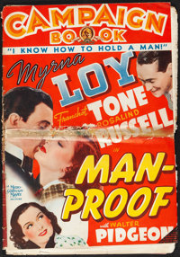 """Man-Proof (MGM, 1938). Folded, Very Good+. Uncut Pressbook (Multiple Pages, 14"""" X 20""""). Comedy"""