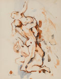 Works on Paper, Audrey Flack (American, 1931). Rape of the Sabine Women, 1956. Watercolor and ink on paper. 14 x 10-7/8 inches (35.6 x 2...