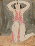 Works on Paper, Abraham Walkowitz (American, 1880-1965). Isadora in Red. Watercolor on paper. 10-3/4 x 8-3/8 inches (27.3 x 21.3 cm). Si...
