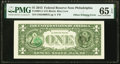 Third Printing on Back Offset Error Fr. 3001-C $1 2013 Federal Reserve Note. PMG Gem Uncirculated 65 EPQ