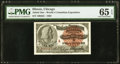 "World's Columbian Exposition Columbus with ""A"" Overprint 1893 Ticket PMG Gem Uncirculated 65 EPQ"