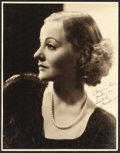 """Movie Posters:Miscellaneous, Tallulah Bankhead by Otto Dyar (Paramount, c.1930s). Fine/Very Fine. Autographed Portrait Photo (10.75"""" X 13.75""""). Miscellan..."""
