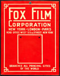 "Movie Posters:Miscellaneous, Fox Film Corporation (Fox, c. 1919). Fine+. Metal Calendar Sign (11.25"" X 14""). . ..."