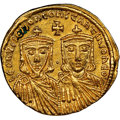 Ancients:Byzantine, Ancients: Leo IV the Khazar (AD 775-780), with Constantine VI, Leo III, and Constantine V. AV solidus (20mm, 4.35 gm, 5h). NGC Choice AU...