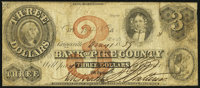 Griggsville, IL- Bank of Pike County $3 May 1, 1859 Very Good