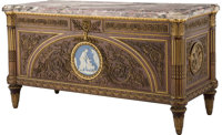 A French Gilt Bronze and Jasperware Plaque-Mounted Mahogany Commode à Vantaux after the Model by Joseph Stöc...