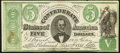 Confederate Notes:1861 Issues, CT33/250C $5 1861 Counterfeit About Uncirculated.. ...