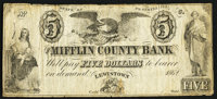 Lewistown, PA- Mifflin County Bank $5 1862 Remainder Fine