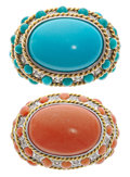 Estate Jewelry:Rings, Coral, Turquoise, Diamond, Gold Rings. ... (Total: 2 Items)