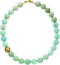 Estate Jewelry:Necklaces, Chrysoprase, Gold Necklace, Angela Cummings. ...