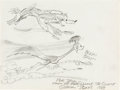 Animation Art:Production Drawing, Chuck Jones - Wile E. Coyote and Road Runner Sketch Original Art (Warner Brothers, 1983).. ...
