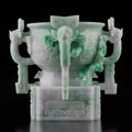 Carvings, A Chinese Carved Jadeite Censer, late Qing-Republic Period. 7-1/4 x 8-1/2 inches (18.4 x 21.6 cm). ...
