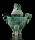 Carvings, A Chinese Jadeite Covered Censer. 6 x 6 x 3 inches (15.2 x 15.2 x 7.6 cm). ...