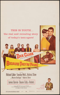 """Because They're Young (Columbia, 1960). Very Fine. Window Card (14"""" X 22""""). Drama"""