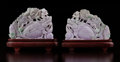 Carvings, A Pair of Chinese Lavender Jadeite Nian Nian You Yu Carvings with Fitted Stands. 5-3/4 x 7 x 2 inches (14.6 x 17... (Total: 2 Items)