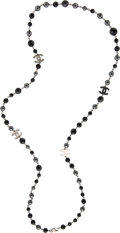 """Luxury Accessories:Accessories, Chanel Black & Grey Faux Pearl and Crystal Single Strand CC Necklace. Condition: 1. 22"""" Length. ..."""