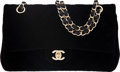 """Luxury Accessories:Bags, Chanel Black Quilted Velvet Double Flap Bag with Gold Hardware. Condition: 1. 10"""" Width x 6"""" Height x 2.5"""" Depth. ..."""