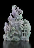 Carvings, A Large Chinese Lavender Jadeite Group of Rams. 11 x 9 x 4 inches (27.9 x 22.9 x 10.2 cm). ...