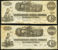 Confederate Notes:1862 Issues, T40 $100 1862 PF-1 Cr. 298 Very Fine;. T40 $100 1863 PF-20 Cr. 308 Extremely Fine.. ... (Total: 2 notes)