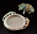 Carvings, A Chinese Jadeite Brush Washer and Buffalo. 1 x 5-1/4 x 4-1/4 inches (2.5 x 13.3 x 10.8 cm) (larger, washer). ... (Total: 2 Items)