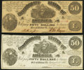 Confederate Notes:1861 Issues, T14 $50 1861 Very Fine;. CT14 $50 1861 Counterfeit Very Fine-Extremely Fine.. ... (Total: 2 notes)