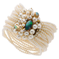 Cultured Pearl, Opal, Diamond, Gold Bracelet